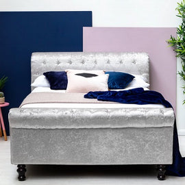 St James Silver Crushed Velvet Sleigh Ottoman Storage Double Bed Frame