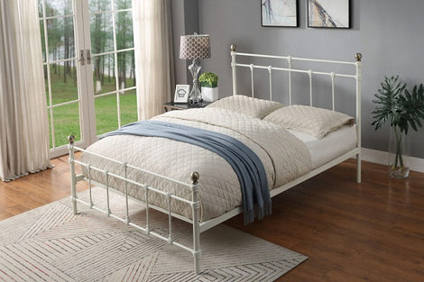 Trentham Vintage Victorian White Metal Bed Frame King Size Bed Frame