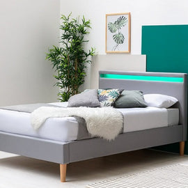 Wentworth LED Headboard Grey Fabric Bed Frame King Size Bed Frame