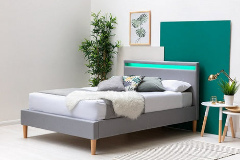 Wentworth LED Headboard Grey Fabric Bed Frame Double Bed Frame