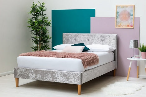 Wootton Modern Silver Crushed Velvet King Size Bed Frame