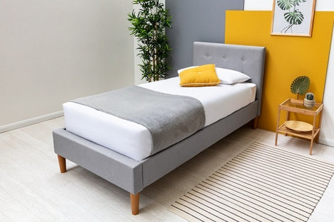 Wootton Modern Grey Fabric Single Bed Frame