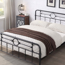 LYNDHURST BLACK/SILVER METAL DOUBLE BED