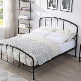 Belmont Industrial Style Black Metal Bed Frame Double
