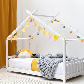 Canopy Kids White Wooden House Single Bed Frame
