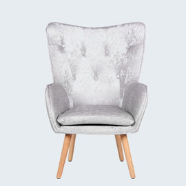 COVEN CRUSHED SILVER VELVET UPHOLSTERED WINGBACK ARMCHAIR