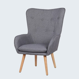 COVEN CHARCOAL GREY FABRIC ACCENT BEDROOM CHAIR
