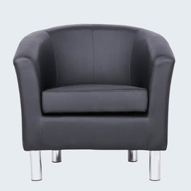 ENDON BLACK FAUX LEATHER TUB CHAIR