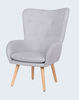 COVEN LIGHT GREY FABRIC UPHOLSTERED WINGBACK ARM CHAIR