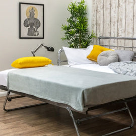 BANBURY SILVER METAL DAY BED & TRUNDLE