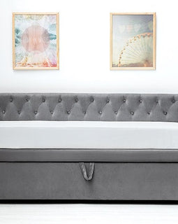 Clarendon Grey Velvet Fabric Day Bed With Guest Bed