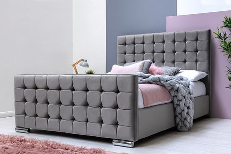 Dalkeith Diamante Grey Velvet Upholstered King Size Bed Frame