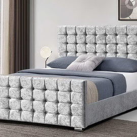 Dalkeith Diamante Silver Crushed Velvet Upholstered King Size Bed Frame