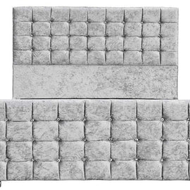 Dalkeith Diamante Silver Crushed Velvet Upholstered Double Bed Frame