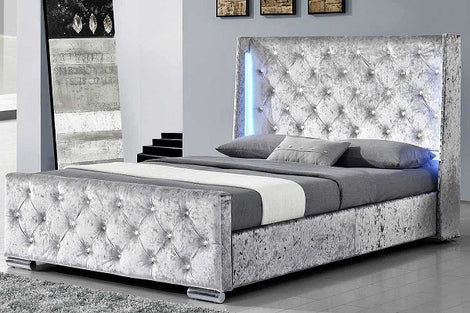 Dorchester Silver Crushed Velvet LED Lights Winged King Size Bed Frame