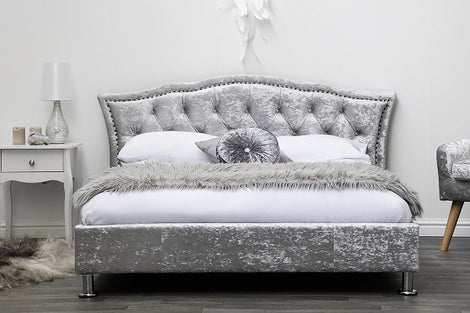 Georgia Silver Crushed Velvet Upholstered Designer Double Bed Frame