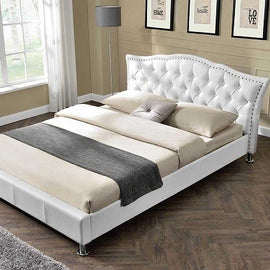 Georgia Diamante White Faux Leather Designer Double Bed Frame