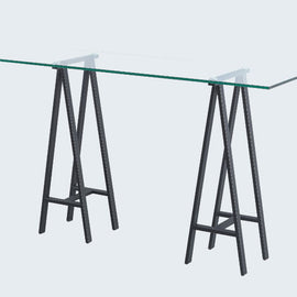 CLEAR GLASS CONSOLE TABLE ON TRESTLE LEGS