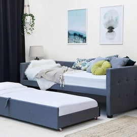 Holyrood Charcoal Grey Upholstered Day Bed & Pull Out Guest Trundle - Single