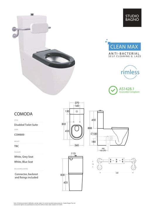 Studio Bagno Comoda Disable Rimless Toilet Suite