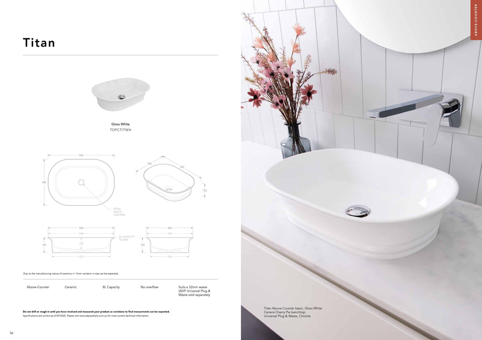 ADP Titan Ceramic Above Counter Basin