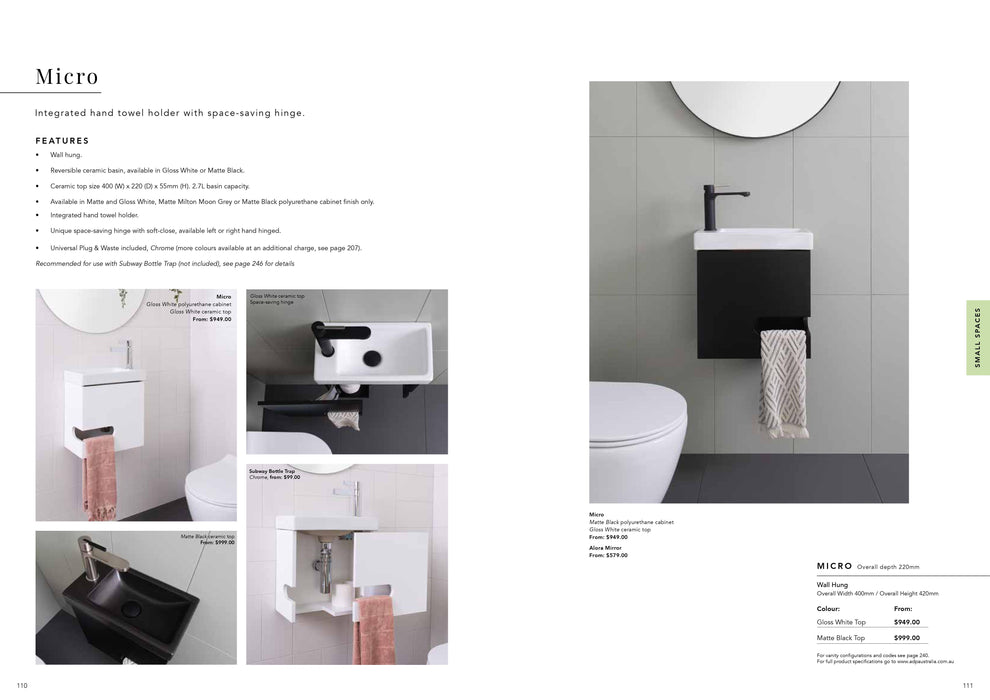 ADP Micro 400mm Small Space Vanity