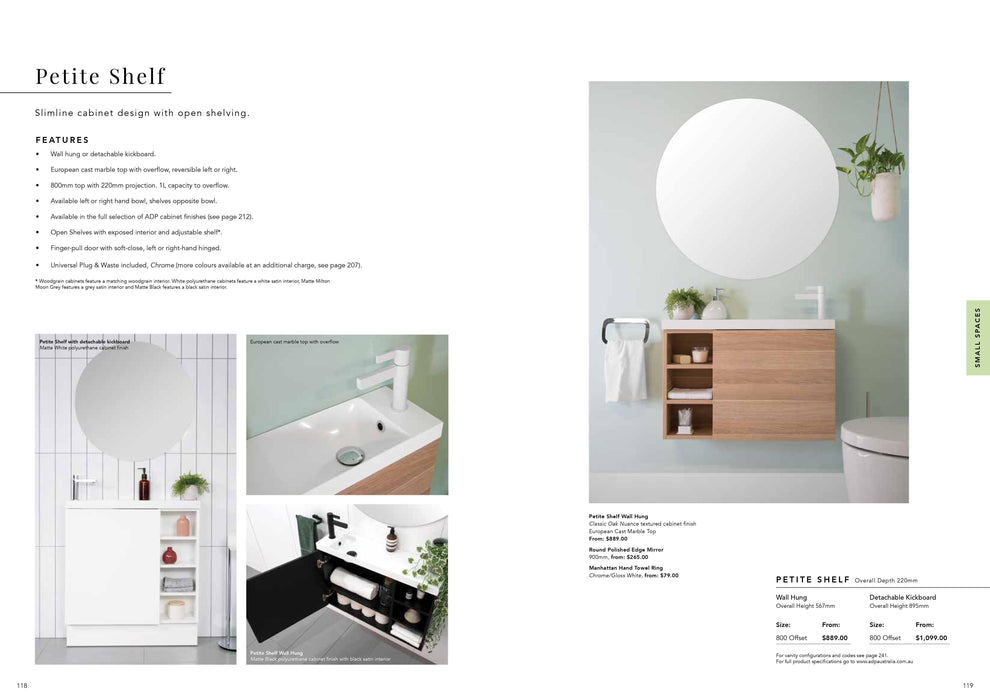 ADP-ADP Petite Shelf 800mm Small Space Vanity - Bathrooms > Vanities > Small Space Vanities, Brand_ADP, Colour_ Matte Black, Colour_Gloss White, Colour_Matte Grey, Colour_Matte White, Colour_Woodgrain, Product Type_ Freestanding Vanity, Product Type_ Small Space Vanity, Product Type_ Wall Hung Vanity, Size_800mm, Vanity Tops_ European Cast Marble-Ideal Bathroom Centre