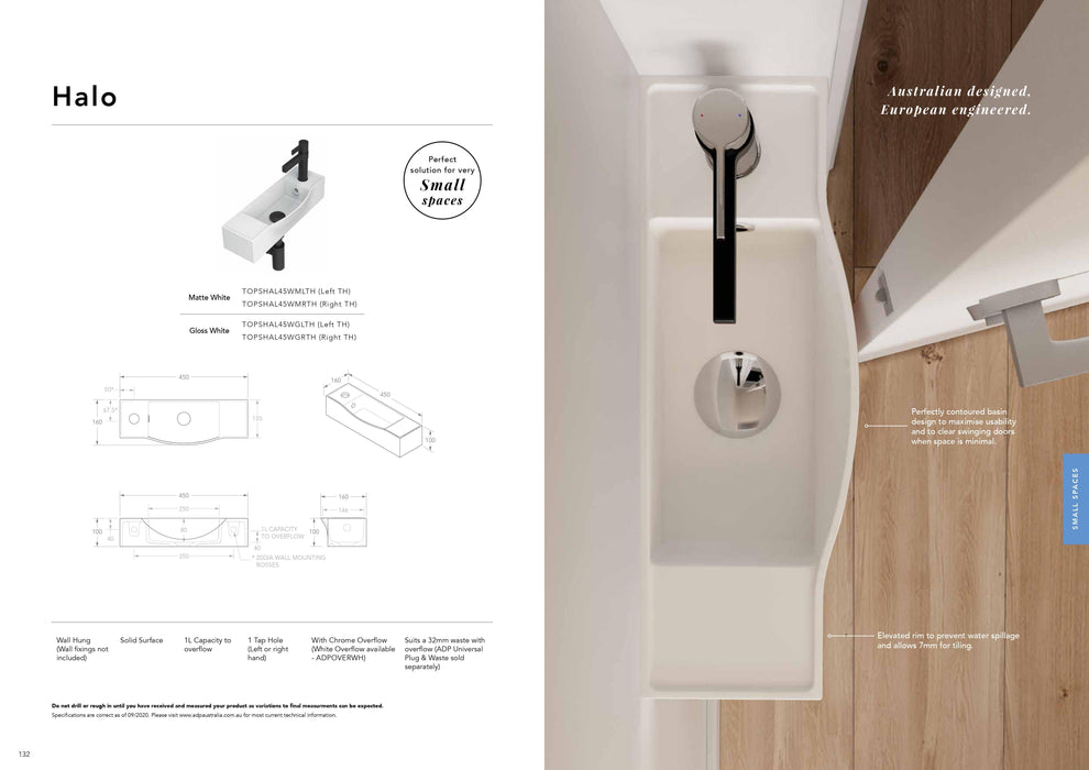ADP Halo Solid Surface Wall Hung Basin - Idealbathroomcentre