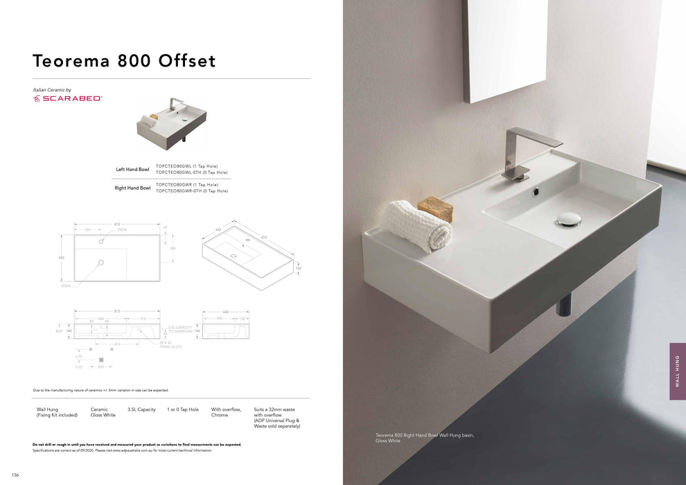 ADP-ADP Teorema 800mm Ceramic Wall Hung Basin - Brand_ADP, Colour_Gloss White, Material_Ceramic, Product Type_Wall Hung Basin, Shape & Design_Rectangle-Ideal Bathroom Centre