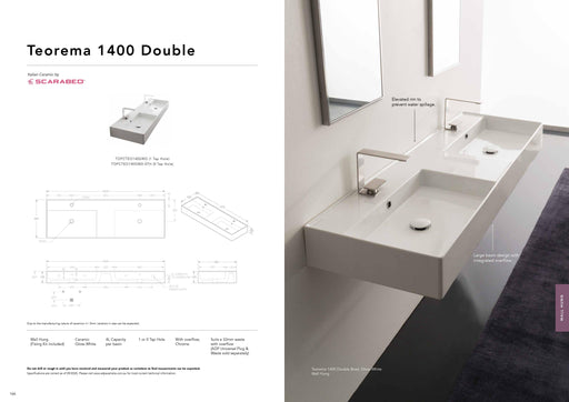 ADP-ADP Teorema 1400mm Ceramic Wall Hung Basin - Brand_ADP, Colour_Gloss White, Material_Ceramic, Product Type_Wall Hung Basin, Shape & Design_Rectangle-Ideal Bathroom Centre