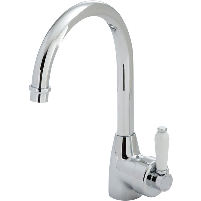 Fienza ELEANOR Gooseneck Sink Mixer with Porcelain Handle - Idealbathroomcentre