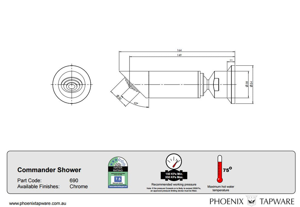Phoenix Commander Shower Rose Only - Idealbathroomcentre