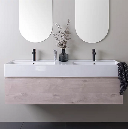ADP-ADP Capri 1400mm Wall Hung Vanity - Brand_ADP, Colour_ Matte Black, Colour_Gloss White, Colour_Matte Grey, Colour_Matte White, Colour_Woodgrain, Product Type_ Wall Hung Vanity, Size_1400mm, Vanity Tops_Ceramic Tops-Ideal Bathroom Centre
