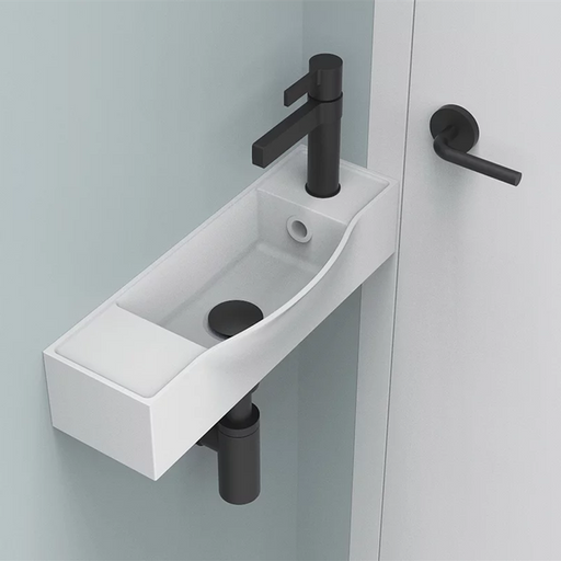 ADP-ADP Halo Solid Surface Wall Hung Basin - Brand_ADP, Colour_Gloss White, Colour_Matte White, Material_Solid Surface Stone, Product Type_Wall Hung Basin, Shape & Design_Soft Rectangular-Ideal Bathroom Centre