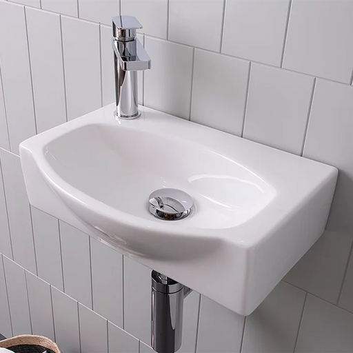 ADP-ADP Humphery Semi-Recessed Ceramic Wall Hung Basin - Brand_ADP, Colour_Gloss White, Material_Ceramic, Product Type_Semi-Recessed Basin, Product Type_Wall Hung Basin, Shape & Design_Curve-Ideal Bathroom Centre