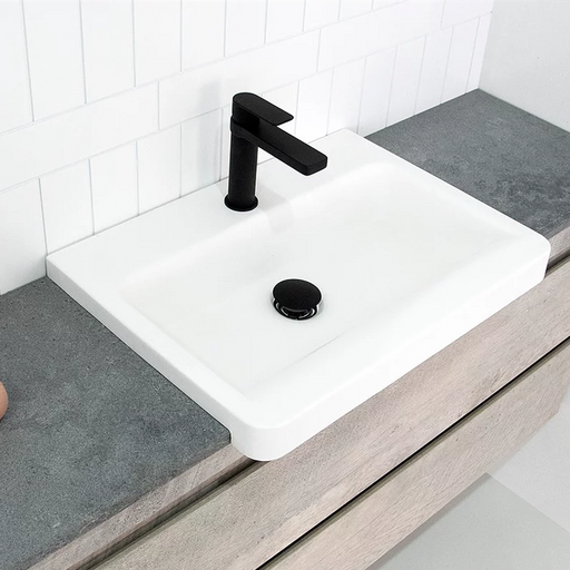 ADP-ADP Integrity Solid Surface Semi-Recessed Basin - Brand_ADP, Colour_Gloss White, Colour_Matte White, Material_Solid Surface Stone, Product Type_Semi-Recessed Basin, Shape & Design_Soft Square-Ideal Bathroom Centre