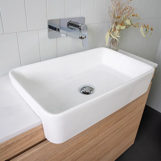 ADP-ADP Lino Ceramic Above Counter Basin - Brand_ADP, Colour_Gloss White, Material_Ceramic, Product Type_Semi-Recessed Basin, Shape & Design_Soft Rectangular-Ideal Bathroom Centre