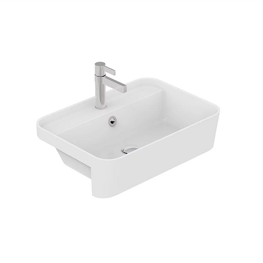 ADP-ADP Miya Solid Surface Semi-Recessed Basin - Brand_ADP, Colour_Gloss White, Colour_Matte White, Material_Solid Surface Stone, Product Type_Semi-Recessed Basin, Shape & Design_Soft Square-Ideal Bathroom Centre