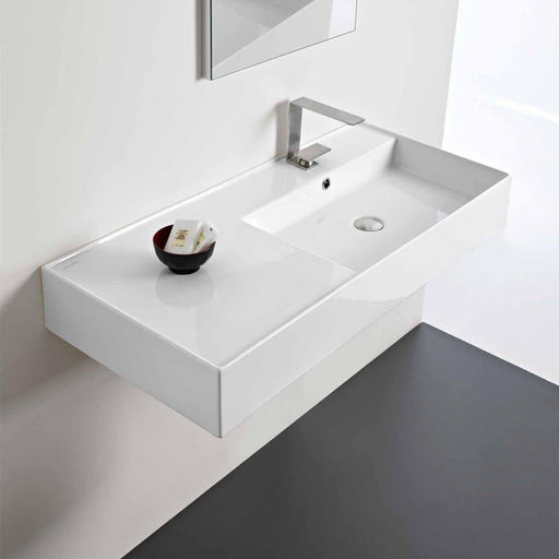 ADP-ADP Teorema 1000mm Ceramic Wall Hung Basin - Brand_ADP, Colour_Gloss White, Material_Ceramic, Product Type_Wall Hung Basin, Shape & Design_Rectangle-Ideal Bathroom Centre