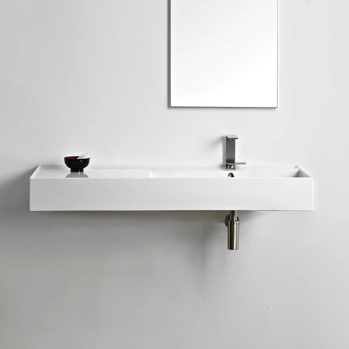 ADP-ADP Teorema 1200mm Ceramic Wall Hung Basin - Brand_ADP, Colour_Gloss White, Material_Ceramic, Product Type_Wall Hung Basin, Shape & Design_Rectangle-Ideal Bathroom Centre