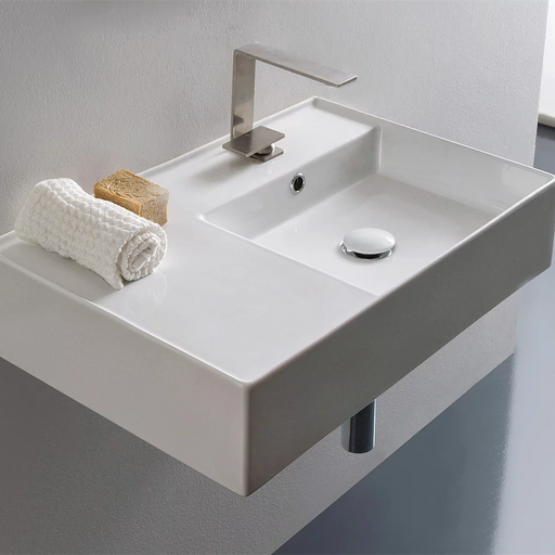 ADP-ADP Teorema 600mm Ceramic Wall Hung Basin - Brand_ADP, Colour_Gloss White, Material_Ceramic, Product Type_Wall Hung Basin, Shape & Design_Rectangle-Ideal Bathroom Centre