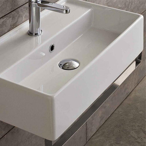 STUDIO BAGNO-Studio Bagno Apartment 600mm Basin - Brand_Studio Bagno, Colour_Gloss White, Material_Ceramic, Product Type_Above Counter Basin, Product Type_Wall Hung Basin, Shape & Design_Rectangle-Ideal Bathroom Centre