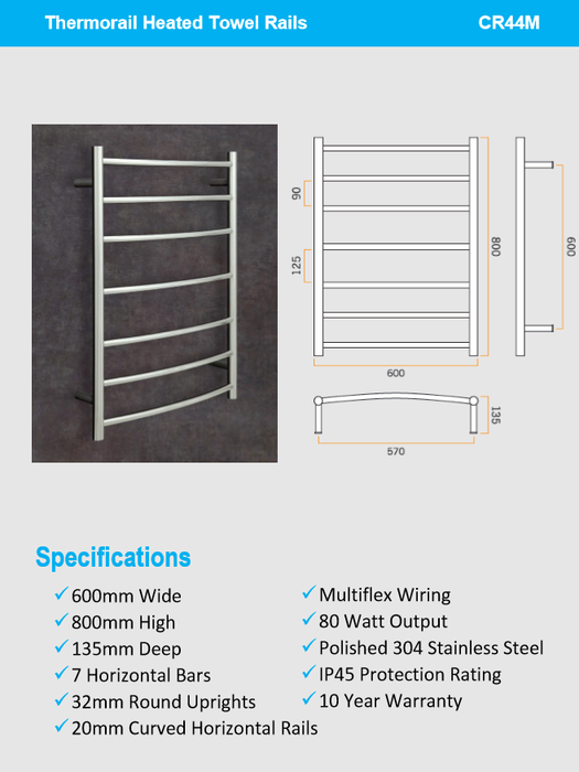 Thermorail Curved W600 x H800 x D150-7 bars CR44M Heated Towel Rail - Idealbathroomcentre