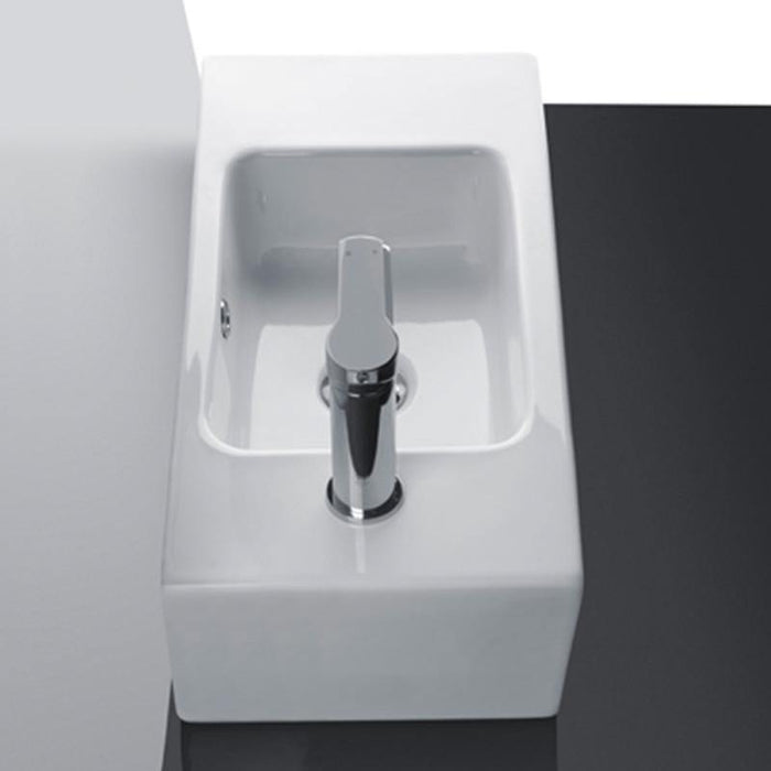 STUDIO BAGNO-Studio Bagno Compact-Left 530mm Basin - Basin, Bathroom, Brand_Studio Bagno, Colour_Gloss White, Material_Ceramic, Product Type_Above Counter Basin, Product Type_Wall Hung Basin, Shape & Design_Rectangle-Ideal Bathroom Centre