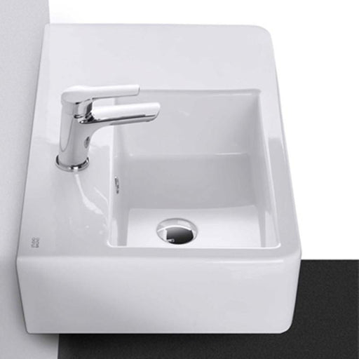 STUDIO BAGNO-Studio Bagno Edge 630mm Basin -Left Bowl - Basin, Bathroom, Brand_Studio Bagno, Colour_Gloss White, Material_Ceramic, Product Type_Above Counter Basin, Product Type_Wall Hung Basin, Shape & Design_Rectangle-Ideal Bathroom Centre