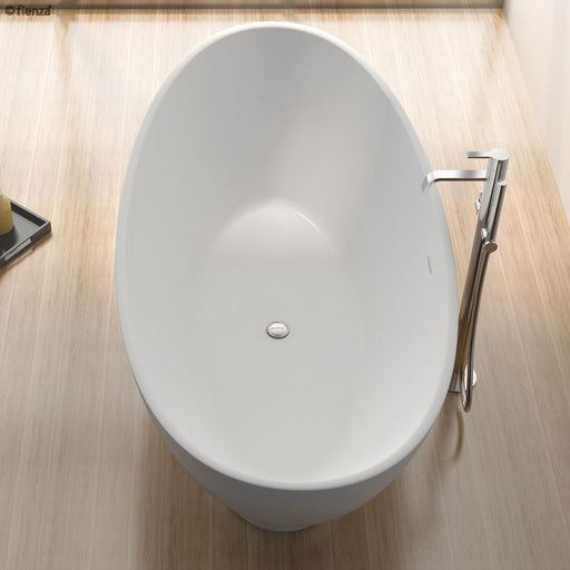 Fienza Antonia 1550 Matte White Stone Freestanding Bath - Idealbathroomcentre