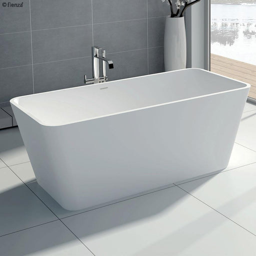 Fienza High Rise 1500 Matte White Stone Freestanding Bath - Idealbathroomcentre
