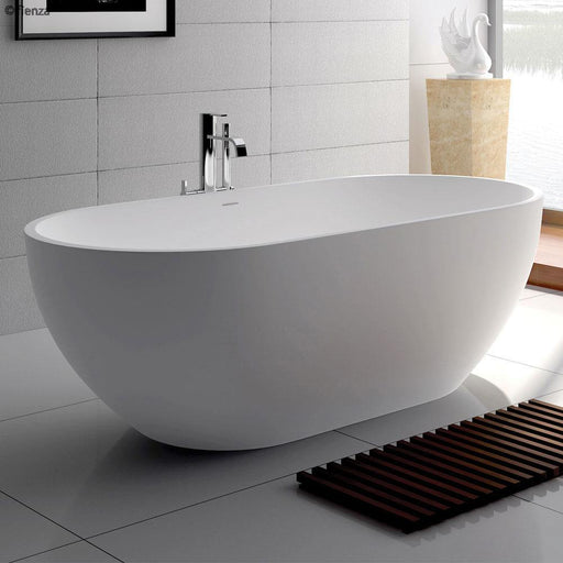 Fienza Nero 1400/1550/1780 Matte White Stone Freestanding Bath - Idealbathroomcentre