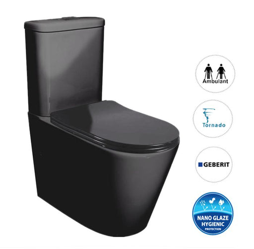 Feanza Tornado Back to Wall Toilet Suite-Matte Black