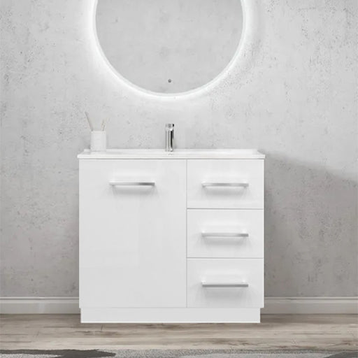 Elegant Handle 750mm Ceramic Freestanding Vanity